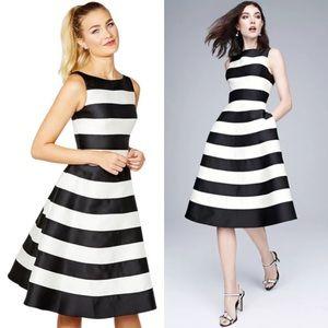 ADRIANNA PAPELL Striped Mikado Dress-2 Ivory/Black